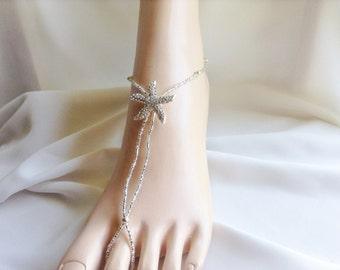 Silver Barefoot Sandals, Bridal Foot Jewelry, Starfish Barefoot Sandle,Beach Wedding Sandals