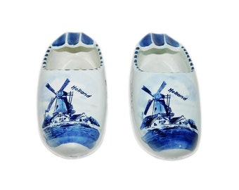Vintage DELFT Blue & White Hand-Painted Ceramic Clog/Shoe Ashtrays - Made in Holland