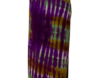 Sarong Tie Dyed  in Purple and Green Stripes