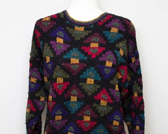 """Stunning Hand Knit """"northern isles"""" cotton blend sweater"""