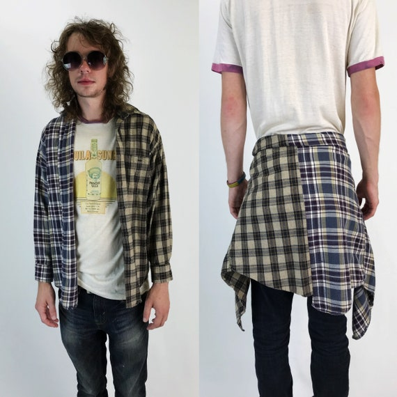 Reconstructed 2 Tone Flannel Adult Medium - Remade Vintage Split Half & Half Mixed Prints Plaid Upcycled Long Sleeve Grunge Button Up Top