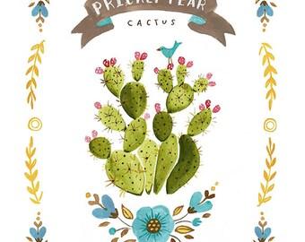 Prickly Pear Cactus Print, Prickly Pear Print, Cactus Illustration, Cactus Print, Cactus Fine Art Print