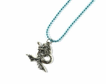 Mermaid necklace, mermaid, fantasy, fantasy necklace, blue ball chain