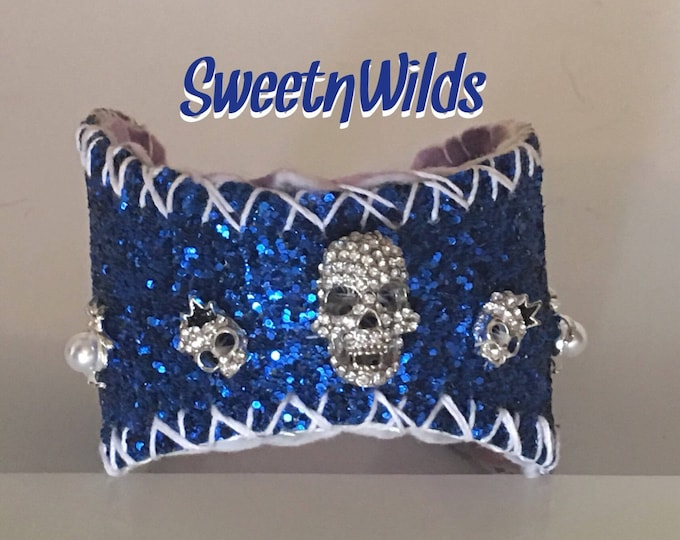 Blue Sparkle-Spiders- READY TO SHIP-Skull Cuff-Baseball Bracelet-Leather Jewelry-