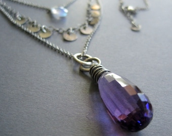 Statement Necklace, Amethyst February Birthstone, Purple Pendant, Moonstone, Multi Strand Necklace, Gift for Her