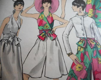 Vintage 1960's Vogue 7271 Jacket, Halter Blouse, Pants and Skirt Sewing Pattern Size 12 Bust 34