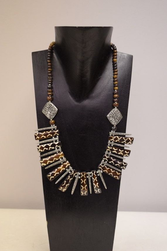 Necklace Vintage Batik Brown Sticks Etched Silver Sticks Pendants Handmade Jewelry Batik Beads Pendants Silver Necklace One of a Kind G