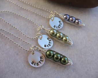 Sister necklace set - Custom Necklace Set - Handstamped necklaces - set of 3 - peas in a pod - three peas in a pod necklace
