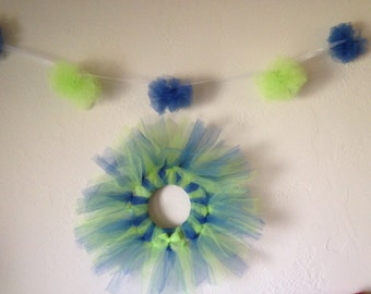 Custom Tulle Wreath & Garland Sets; Choose your colors!!! Wreath and garland set in your chosen colors!
