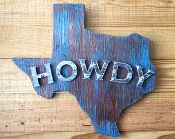 Howdy Texas Rustic Wood & Metal Sign