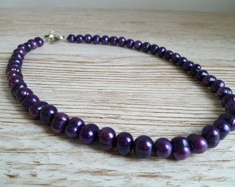 Purple fresh water pearl necklace UK made 18""