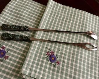 Vintage Paua Shell Spoon & Fork Set - Bar Set - Vintage Shell Cutlery  - Cocktail Stirrer - Olive Fork -  Tableware - Australian Seller