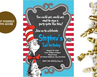 Dr Seuss BIRTHDAY INVITATION, Dr Seuss Invitation,Dr Seuss, Editable Dr Seuss, Birthday Invitation, Invitation
