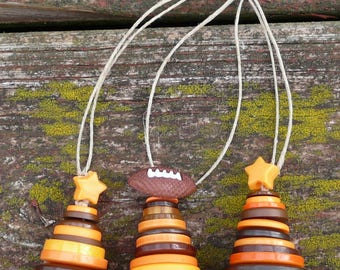 Football Brown & Orange Button Christmas Tree Ornaments ~ Cleveland Browns colors ~ Set of 3