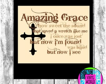 Amazing Grace Svg, Cut File, Silhouette cut file, cricut file, SVG, DXF, EPS, pdf, png, jpeg, studio, Print and Cut, Cuttables, Decals