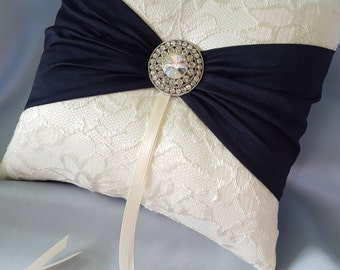 Ivory Navy Blue Ring Bearer Pillow Lace Ring Pillow Rhinestone Accent