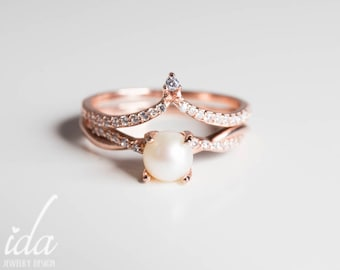 Rose Gold Pearl Engagement Ring Set   Womens Rings, Rings For Women, Wedding  Rings Women, Wedding Ring Set Rose Gold, Unique Engagement Ring