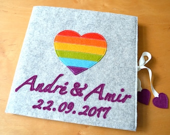 """wedding guestbook """"rainbow-heart"""", scrapbook, felted cover, embroidered, gay wedding"""