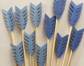 24 Pieces 2 Shades of Blue Arrow Cupcake Toppers , Birthdays, Party Decor, Weddings, Baby/Bridal Showers