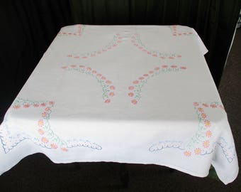 Vintage Tablecloth - Hand embroidered with small Pink and Blue Flowers - Linen