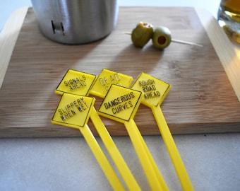 Set of 5 Vintage Yellow Road Sign Swizzle Sticks