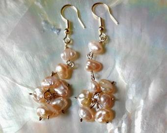 Pink Pearls earrings, 14K Gold Filled earrings