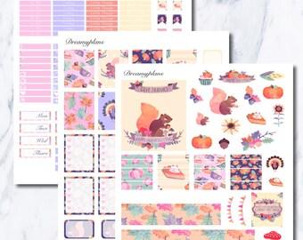 Happy Thanksgiving Printable Vertical Erin Condren Planner Stickers Kikki K Personal