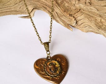 Beetle Heart Necklace / Bronze Jewelry / Bug Jewelry /Gift For Her / Steampunk Jewelry / Victorian Inspired / Nature Jewelry / Scarab