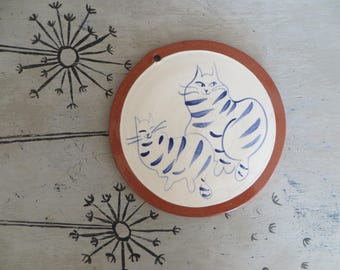 Pottery Cat Plate Blue and White Wall Plate