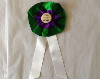 Handmade British suffragette Tricolour rosette, Edwardian costume, pin badge, Votes for women