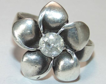 SR502 Vintage Estate Sterling Silver Flower Rhinestone Ring US Size 7 Jewelry Jewellery 925 UK SIze O Gift For Her