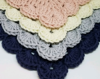 Beautiful Handcrafted Cotton Washcloths - Scallop Edged Facecloths - Blush Pink, Navy Blue, Off White, and Gray - Washcloth Set
