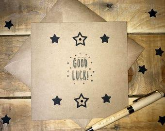 Handmade Good Luck Card in kraft brown