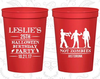 25th Birthday Party Cups, Personalized Plastic Birthday Cups, Halloween Birthday Cups, Birthday Party Cups (20143)