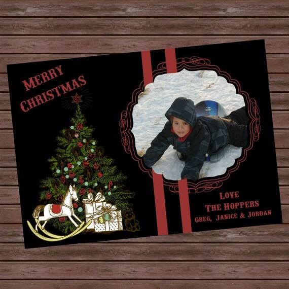 Printable Vintage Christmas Photo Card