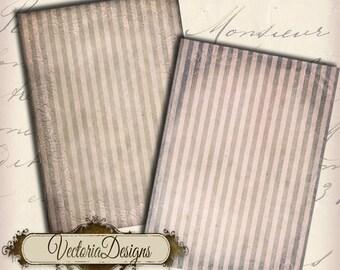 Grunge Striped ATC digital background instant download printable collage sheet - VD0008