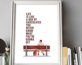 Forrest Gump Poster, Tom Hanks, Film Poster, Forrest Gump, Illustrations, Typography, Home/Office Poster, Gift Idea, Wall Art Decor