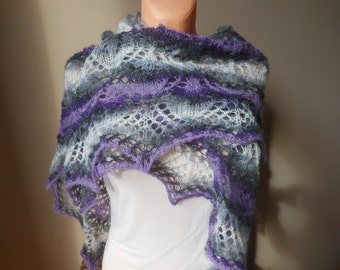 Lace shawl mohair yarn grey purple violet , hand knitted