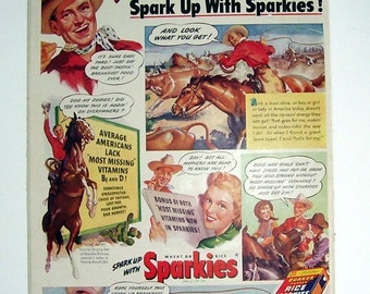 Movie Star Gene Autry for Sparkies Quaker Oats Cereal Ad, Cowboy, Cowboy Hat, Singing Star, Food Ad, Wheat cereal, Republic Pictures