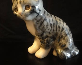 """Grey and White Winstanley Cat, 7 3/4"""" high"""