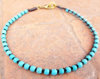 Beaded Ankle Bracelet - Turquoise Bead Knot Chain Anklet