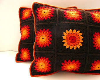 Crochet pillow cover, sunset colors, granny squares cushion, pillow case with flowers, MADE TO ORDER