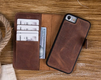 Brown Leather iPhone 7 Case, iPhone 7 Plus Case, iPhone 7 Wallet, iPhone 7 Wallet Case, iPhone 7 Plus Case Wallet, iPhone Leather Case-BROWN