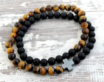 Mens Wrap Bracelet Mens Bracelet Tigers Eye Black Onyx Cross Bracelet Mens Gift Boyfriend Gift Mens Beaded Bracelet Men