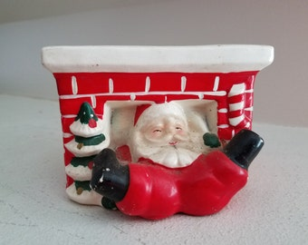 Vintage Ceramic Christmas Planter - Santa Coming Down the Chimney
