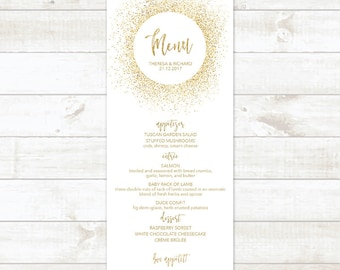 Wedding Menu Template, Printable Wedding Menu Card, Bridal Shower Menu, Gold Wedding Menu Card, Gold Glitter Wedding Menu