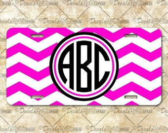 License Plates - Printed - Chevron with Circle Monogram