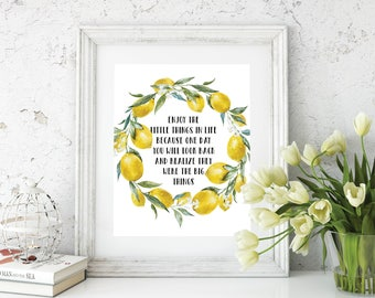 Enjoy the Little Things quote art, Print, quotable home decor, printable wall art, digital, 8x10