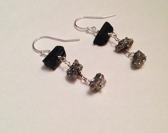 Eight of Batons Black Tourmaline Pyrite Gemstone Sterling Silver Earrings | Handmade Nickel-Free Gemstone Earrings | Witch Tarot Jewelry