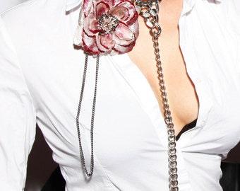 Long Leash Chain Necklace - Glamour Chain Choker w. Long Lead a. Finishing Pendant - Elegant Slave Collar - Punk Chain - TEASE ME Silver